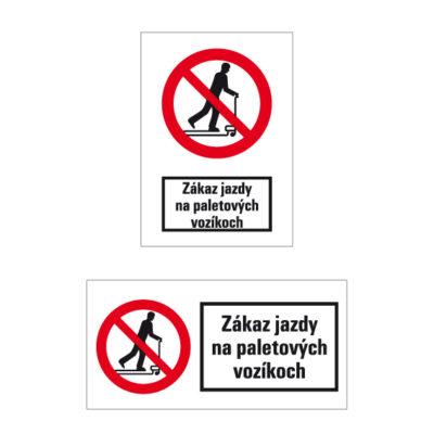 P 034 Zákaz jazdy na paletových vozíkoch