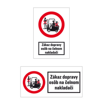 P 035 Zákaz dopravy osôb na čelnom nakladači